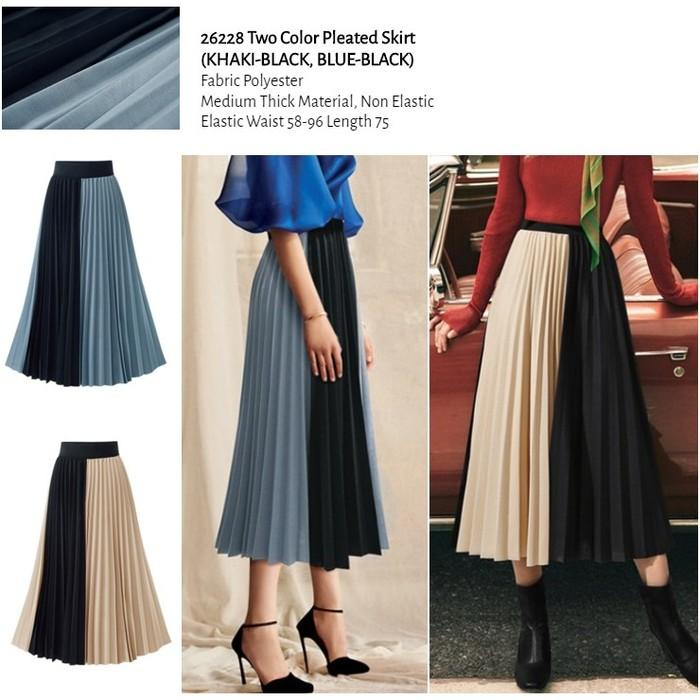 WST 26228 Two Color Pleated Skirt