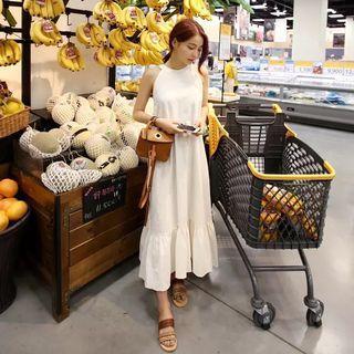 氣質削肩棉麻連身長裙 荷葉邊連身裙 飄逸長洋裝 白