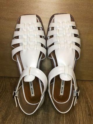 韓版 皮革平底涼鞋