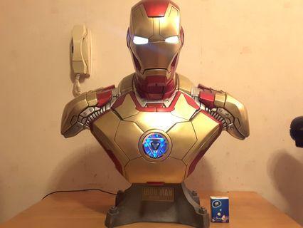 1:1 1比1 Ironman 鐵甲奇俠 Marvel Avenger Mark 42 半胸像 眼同心口 著燈 發光 非 Sideshow