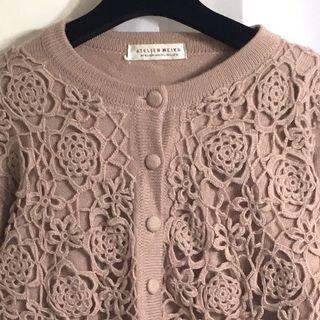 🚚 古著 vintage 毛衣外套 針織立體鉤花 藕粉色