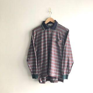 Vintage Burberry Striped Long Sleeve Polo