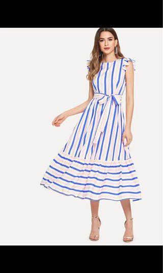 Ruffle trim stripe dress