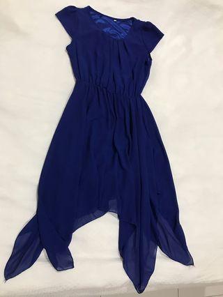 Chiffon Blue Asymmetrical Dress