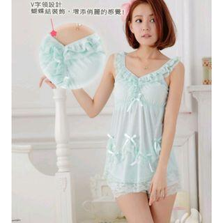 Baju Tidur Wanita Lingerie Sexy Tanktop Dan Celana Pendek Blue Full Set