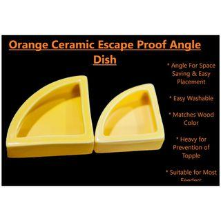 🚚 Orange Angle Escape Proof Ceramic Reptile Feeding and Water Dish (S)