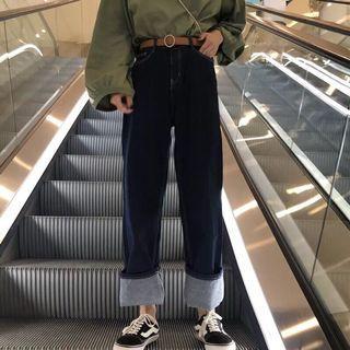 牛仔落地寬褲 可反折