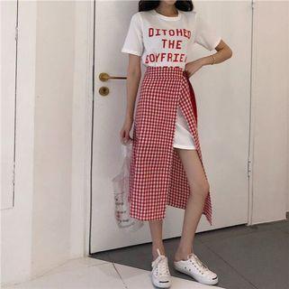 🚚 白長T+綁帶裙兩件式洋裝