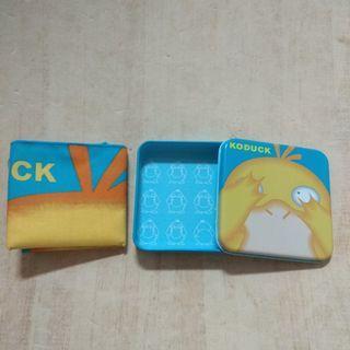 絕版 Tomy 日本製 可達鴨 鐵盒 手帕 置物盒