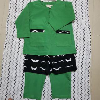 #carouraya Baju Melayu Baby 9-12m Hijau