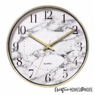 SALE⚡️GOLD WHITE MARBLE PRINT MODERN CHIC WALL CLOCK
