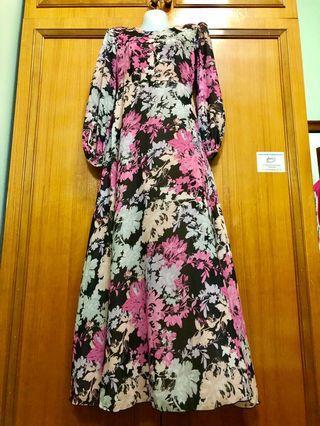 Long dress floral chiffon
