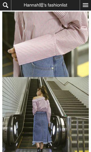 🚚 mercci22 不對稱斜肩條紋襯衫