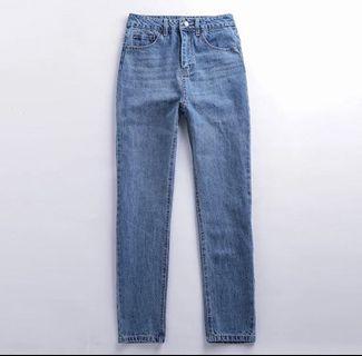🚚 復古高腰顯瘦修身牛仔褲牛仔長褲歐美男友風寛褲(腰圍25臀圍86褲長97大腿圍55