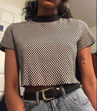 Checkered Mock Neck T-Shirt