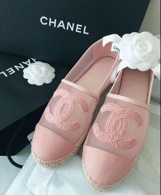 Chanel 2019 最新 網紗Pink漁夫鞋