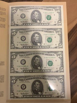 USA uncut notes