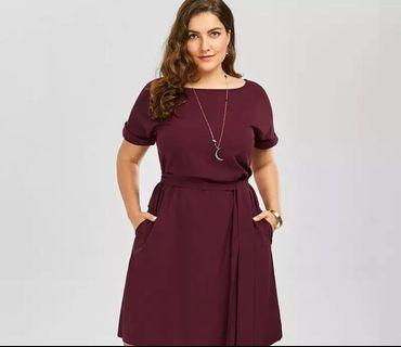 (PO) L-6XL Plus Size Belted Knee Length Dress With Pockets Women Clothes Summer 2019 Sexy O Neck
