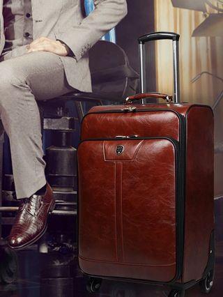 22吋PU皮質皮箱拉桿箱密碼鎖商務登機旅行李箱