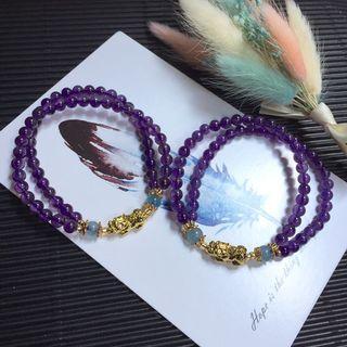 🔮雙圈設計烏拉圭紫水晶貔貅手鍊/二月誕生石紫水晶 海水藍寶/招財遇貴人