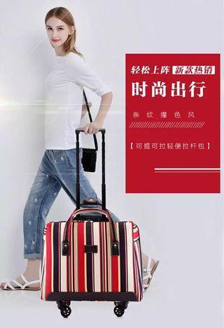 16吋/18吋紅色條紋超輕便手提旅行拉桿包條紋牛津布男女旅遊包行李箱登機箱