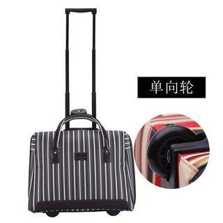 18吋紅色條紋超輕便手提旅行拉桿包條紋牛津布男女旅遊包行李箱登機箱