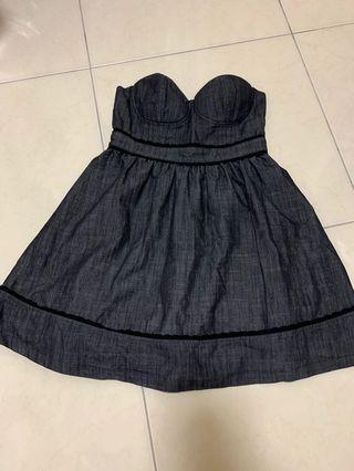 forever21甜美小洋裝 黑色挺牛仔布料 #畢業舞會#謝師宴
