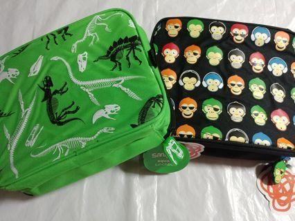 [Sales] Smiggle Square Lunchbox/ Bag - Green Dinosaur/ Black Monkey