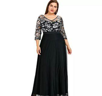(PO) XL-5XL Plus Size Sequined Floral Maxi Prom Women Party Long Dress 3/4 Length Sleeves Floral High