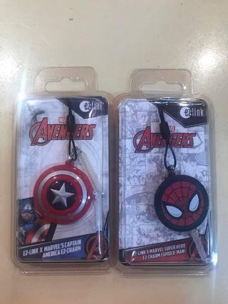 Spider man and captain America ezlink charm