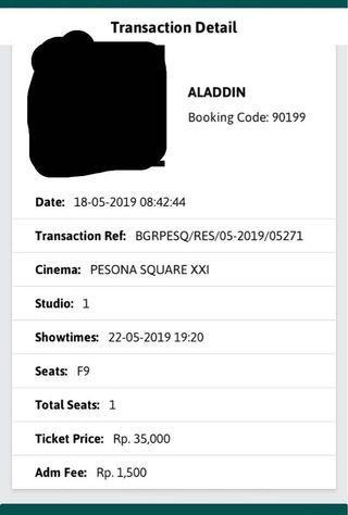 Tiket aladdin 22 mei 19 pesona square 19:20