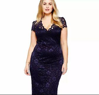 (PO) S-5XL Plus Size Women V Neck Elegant Lace Dress Summer Sexy Crochet Hollow Out Evening Sheath
