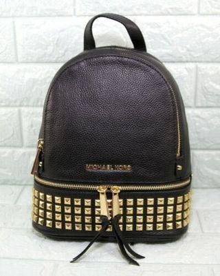 Michael Kors Rhea Zip Studded Leather Back Pack-BLACK