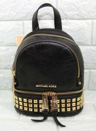 Michael Kors Rhea Zip XS Studded Leather Messenger Back Pack-BLACK