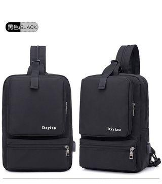 【Q夫妻】Backpack & Sling Bag 韓版 連接USB充電接口 多口 斜背包 斜跨包 帆布包 休閒包 雙肩包 後背包 單肩包 胸包 單雙肩兩用包 黑色 #B0043-2