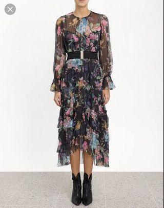 ZIMMERMANN NINETY SIX CHEVRON FRILL DRESS - size 0
