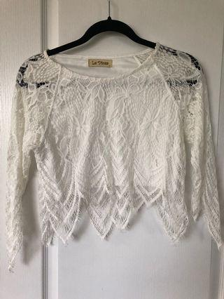 M For Mendocino White Lace Shirt