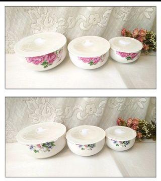 🚚 全新 家魔仕 碗保鮮碗 陶瓷保鮮碗 拉麵碗 大碗公 湯碗 三件組新骨瓷保鮮碗組