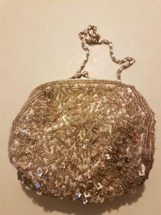 Night out beaded purse with removal long chain