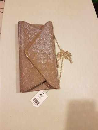 Night out Gold Clutch with long chain