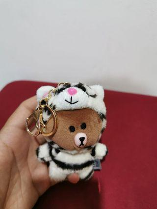 LINE Bear with White Tiger Keychain X 2 Nos