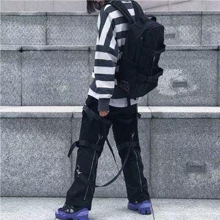 现货新因素新款工装机能嘻哈街舞飘带拉链八神束脚裤子