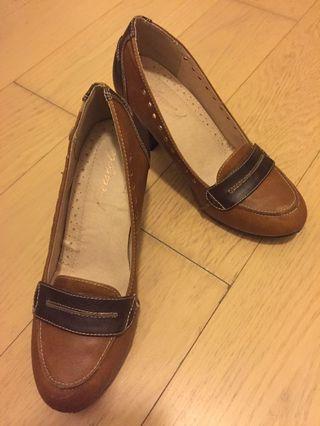 文青款 高跟鞋 brown high heels 復古懷舊風 粗高跟 38 L Footstyle FS 皮革
