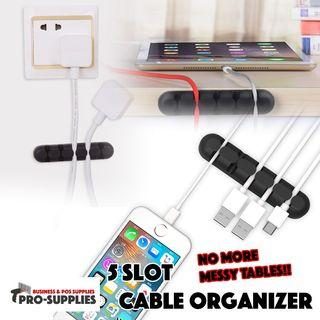 5-Slot Black Cable Organizer