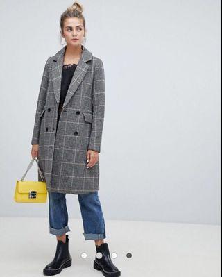 BNWT Pimkie Tailored Grey Check Long Coat