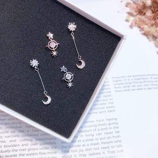 Korean Fashion Earrings - Galaxy and Long Style Moon Drop Earrign