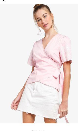 🎀 [3 for $26] Pink Embroidered Wrap Top