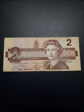 Canada 2 Dollars banknote series 1986