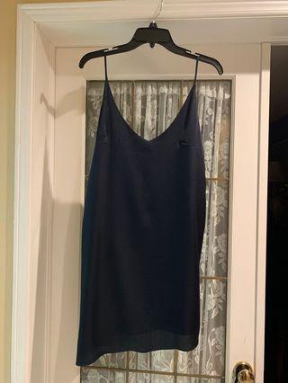 Navy Silk Slip Dress