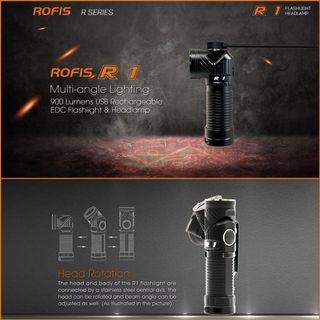 (90 Degree Adjustable Head) Rofis R1 Rotatable Head Compact Flashlight_900 Lumens_Magnetic Tail